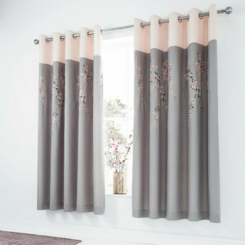 Catherine Lansfield Embroidered Blossom Grey Pink Eyelet Curtains